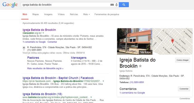 Exemplo 02: Igreja nos resultados do Google