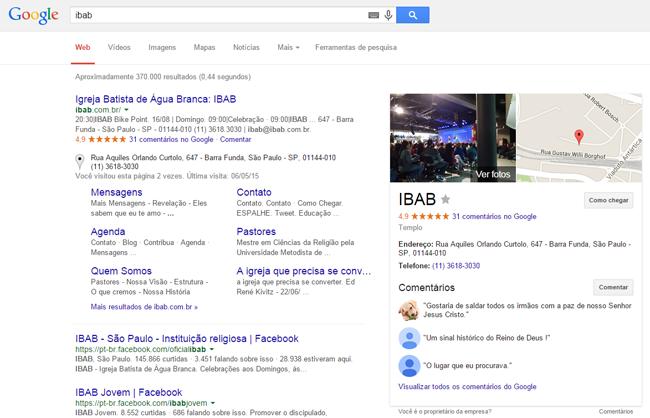 Exemplo 01: Igreja nos resultados do Google