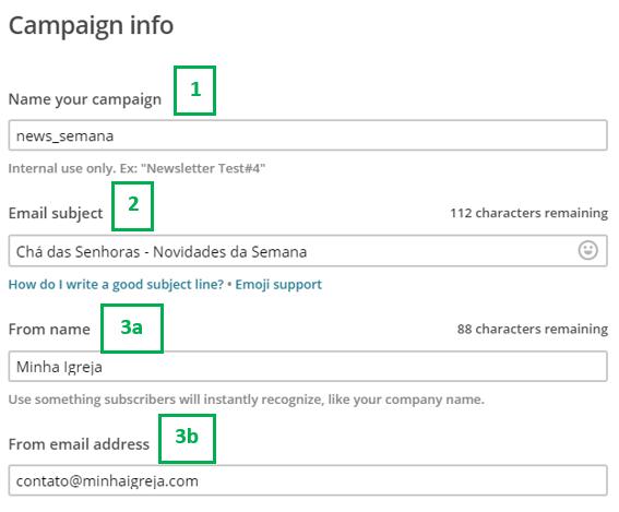 Detalhes da campanha no Mailchimp