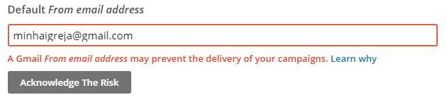 Email válido no MailChimp
