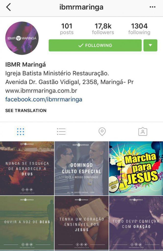 Exemplo de perfil de igreja no Instagram
