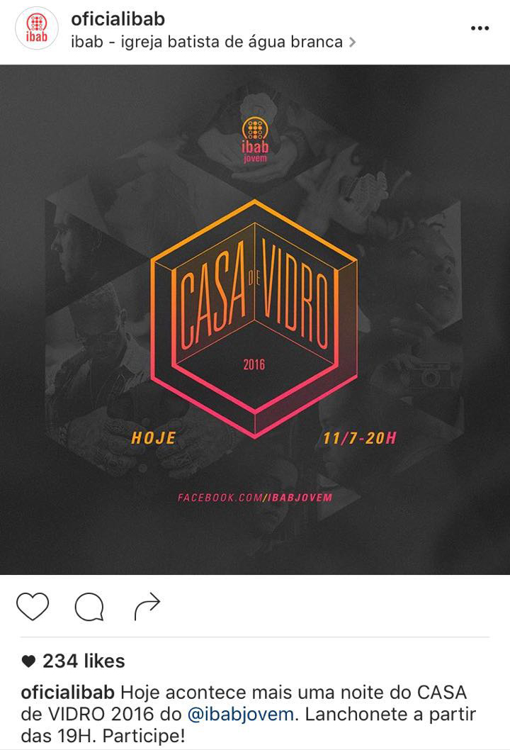Exemplo de post no Instagram: evento - IBAB - SP