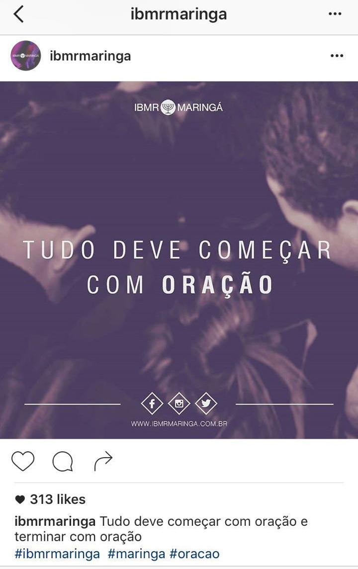 Exemplo de post no Instagram: frase - IBMR Maringá - PR
