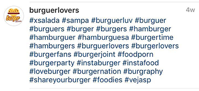 Exemplo de uso de hashtag no Instagram