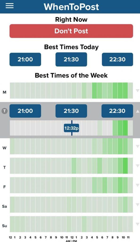 WhenToPost - melhor horário para postar em cada dia da semana
