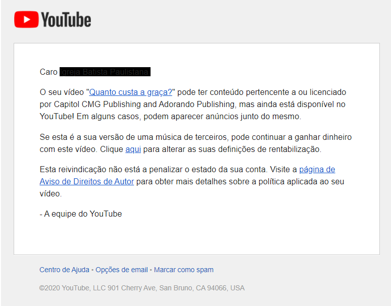 Notificação do YouTube